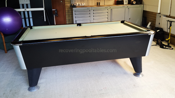 Sam pool table in Sage Smart cloth
