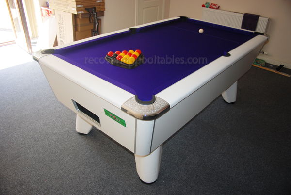 White Winner pool table with Purple Smart cloth