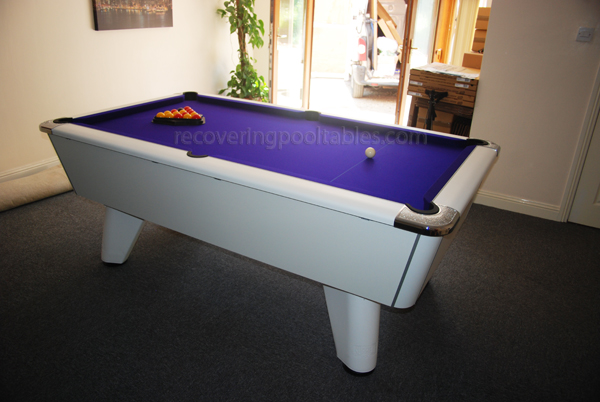 White Winner pool table with Purple Smart cloth 1